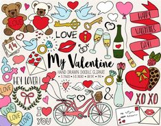 Hand Drawn Valentine's Day Clip Art. Valentines Day Doodles, Valentines Day Drawing, Valentines Day Clipart, Valentines Day Baby, Valentines Day Decorations, Valentine Heart, Love Doodles, Doodle Wedding, Wedding Illustration