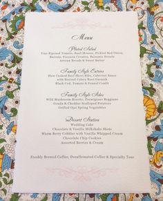 Wedding Menu Card Calligraphy printed on Italian Stationery by Rossi with elegant digital calligraphy from Hyegraph Invitations & Calligraphy. Italian Wedding Invitations, Wedding Menu Cards, Wedding Stationery, Calligraphy Print, Wild Mushrooms, Party Guests, Prints, Printmaking