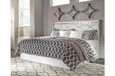 champagne white king bed headboard accented with crystal buttons and beveled mirrors also fits Cal king bed frame