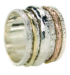 9 KT Gold & Sterling Silver Meditation Ring with one Silver, one Yellow Gold & one Rose Gold spinning band