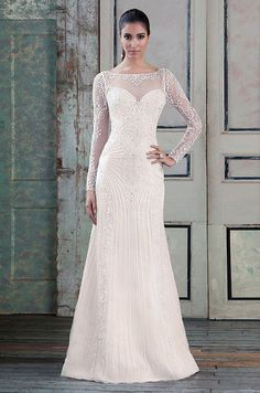 Beaded tulle straight accentuated with a sabrina neckline. Justin Alexander Signature, Sprint 2016