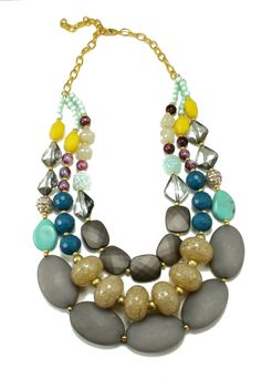 Huge Chunky Colorful Multistrand Statement Necklace, Gray, Beige, Neutral, Multicolor, Anthropologie Necklace,Skipping Stones