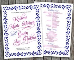 Charm Kaelene Printable Wedding Program  DIY by LadyPoppyDesigns, $35.00