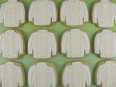 Cookies decorated to look like Irish cable-knit sweaters!@Whitney Shofstall we need to make these and I want to wear my sweater