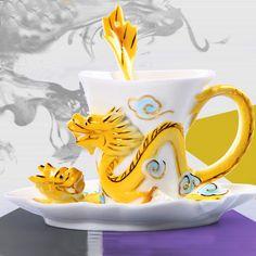 Fine Art Porcelain Ceramic Imperial Dragon Coffee Tea Set Sauce Spoon + Gift Box