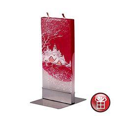 Dekorative Weihnachtskerze , Handbemalter Schmuck, Kerze auf Metallstandfläche, Geschenk, Tischdekoration, Weihnachtsmotiv
