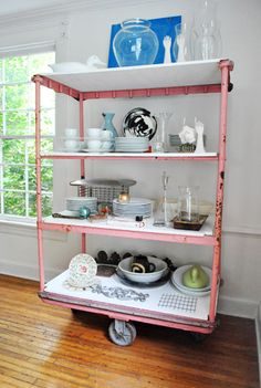 """Not usually into vintage but love the """"pink"""" on this cart and the white marble shelves...so fresh looking for a vintage piece...very """"shabby chic""""."""