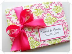 Hot Pink and Lime Wedding Guest Book (custom made). $41.00, via Etsy.