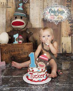 Sock Monkey 1st Birthday Set on Etsy, $55.00