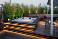 A Jacuzzi is a real relaxation oasis, the best place ever to have a rest after a long day. But if your Jacuzzi is outdoors, it's even more amazing . Rooftop Design, Patio Design, Backyard Designs, Backyard Ideas, Terrace Ideas, Garden Jacuzzi Ideas, Roof Terrace Design, Pool Designs, Patio Ideas