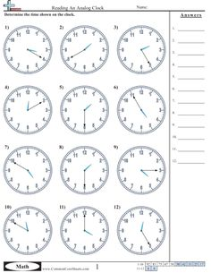 Time Worksheets - Working on Printing them all.  Tutors, Worksheets and more at: www.TutorFrog.com/worksheets-wyzant