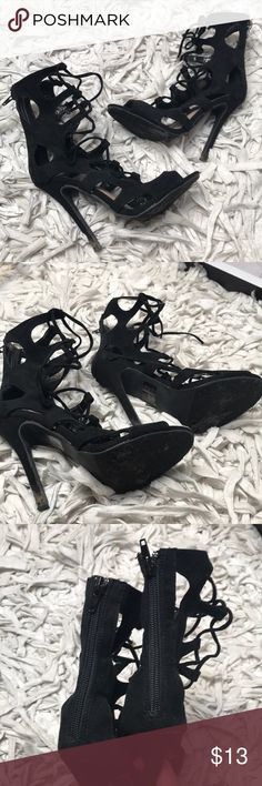 Strappy black tie up sandals Super cute tie up black faux suede sandals! Kept in a smoke and pet free environment. Size 6 runs true to size. Accepting all reasonable offers. Has been worn a few times and has some signs of wear. Very comfortable and super cute with dresses and jeans! Forever 21 Shoes Heels