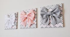 "SET OF THREE - Wall Decor - Large Gray Pink and White Bows on Pink and Gray Chevron 12 x12"" Canvases Wall Art- Baby Nursery Wall Decor- by bedbuggs on Etsy https://www.etsy.com/listing/154746054/set-of-three-wall-decor-large-gray-pink"