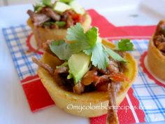 Arepa Bites with Shredded Beef and Avocado | My Colombian Recipes MADE THESE SOOOO GOOD
