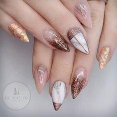 Gold Nails: 35 Gold Nail Designs - Part 17 Pointy Nails, Stiletto Nail Art, Acrylic Nails, Short Stiletto Nails, Short Nails, Marble Nails, Gold Marble, Fancy Nails, Cute Nails