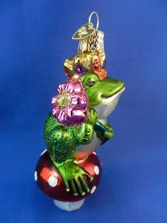Frog Prince of the fairy tale by the Brothers Grimm. Old World Christmas glass ornament found on Vintage Treasures Ornaments.