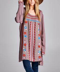 Another great find on #zulily! Mauve & Red Floral-Embroidered Scoop Neck Tunic - Plus #zulilyfinds