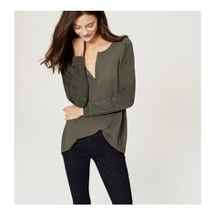LOFT Drapey Mixed Media Tunic (€45) ❤ liked on Polyvore featuring tops, tunics, dark winter olive, drape top, olive tops, olive green top, draped long sleeve top and loft tops