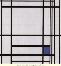 Piet Mondrian. Composition with Blue / Compositie met blauw. Olga's Gallery.