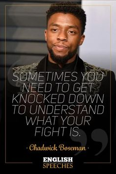 Watch this famous Chadwick Boseman Speech. Enjoy our Speeches with big English subtitles and keep your English learning journey. Black Panther Art, Black Panther Marvel, Black Panther Quotes, Positive Quotes, Motivational Quotes, Inspirational Quotes, Black Panthers, Afrika Tattoos, Life Quotes