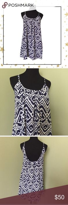 Show Me Your Mumu Tunic Dress (VG23JT21C) Blue White Print Tunic.  Adjustable Straps. Polyester. Dress Length is 32-33, Pit to pit 18, Hips are 28 across, Across bottom 30. Offers welcome. No trade Show Me Your MuMu Dresses Mini
