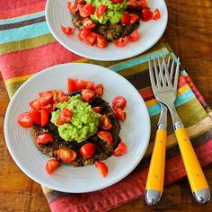 Spicy Black Bean Patties with Cilantro, Guacamole, and Tomatoes