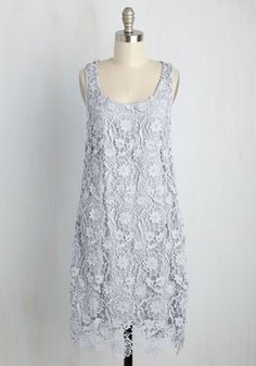 You lean towards styles that are thoroughly feminine with a surprising twist, making this crocheted lace dress exactly your type! A ModCloth-exclusive design from Wendy Bird, this scoop neck frock will have you hooked with its soft grey hue, dimensional appliques, and timelessly attractive aesthetic.