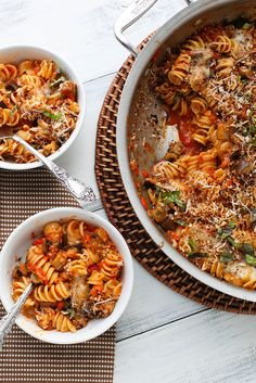 Vegetarian cheesy baked pasta with roasted red pepper sauce and eggplant