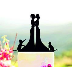 Same Sex Couple with cats Wedding Cake Topper Lesbian Cake