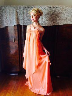 Kalisi Dress/Vintage London Designer Dress/Peach by LydiaLoveVtg