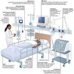 Typical setup for IVIG administrated during a hospital visit. Hospital Plans, Care Hospital, Hospital Bed, Clinic Interior Design, Clinic Design, Medical Office Design, Healthcare Design, Health Design, Hospital Signage