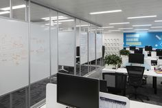 sliding whiteboard collaboration and huddle space Office Team, Office Fit Out, Whiteboard, London City, Open Plan, Innovation Design, Product Design, Collaboration, Clever