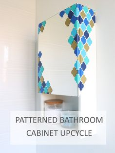 DIY Patterned bathroom cabinet upcycling project