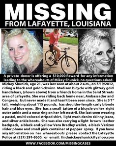 missing girl lafayette mickey shunick-please pray she's found safe!  Please repin