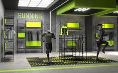 Retail Interior Design, Gym Interior, Showroom Design, Retail Store Design, Clothing Store Design, Architecture Presentation Board, Gym Decor, Gym Design, Sports Shops