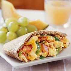 A delicious breakfast pocket with eggs and Canadian bacon! More healthy breakfast recipes: http://www.bhg.com/recipes/healthy/breakfast/heart-healthy-breakfast-recipes/?socsrc=bhgpin072613pitapocket=12