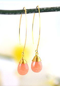 Simple Peach Drop Earrings. Peach Bridesmaids Jewelry.