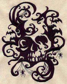 Oh god that'd look fantastic embroidered in black on slate/dark grey cloth napkins...