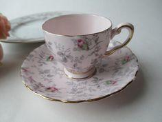 Vintage Tuscan English Bone China Pink Green by jenscloset on Etsy,