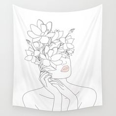 The Minimal Line Art Woman with Magnolia Wall Tapestry makes an awesome gift or present idea for everybody who loves a special piece of art in their dorm, apartment or farmhouse. Save or leave a comment if you like it! Tapestry Bedroom, Wall Tapestry, Blanket On Wall, Carpet Sale, Tapestry Design, Mandala Tapestry, Simple Art, My New Room, Ceiling Design