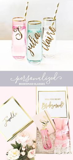 Personalized Bridesmaid Gift Pink Glasses Mint Glasses Gold