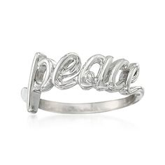 Peace Ring With Diamond Accent in Sterling Silver