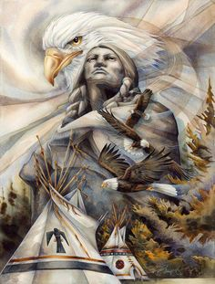 Eagles and Native American Indians Native American Paintings, Native American Pictures, Native American Wisdom, Native American Beauty, Native American Tribes, American Indian Art, Native American History, American Indians, Native Americans