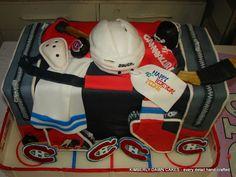 "Hockey cake Previous pinner: ""Hockey cake bag -- Do we really need the jewel cup? That said, this Canadiens' fan did a wonderful job! Hockey Birthday, Hockey Party, Sports Party, Hockey Cakes, Hockey Bedroom, Bithday Cake, Happy 40th, Hockey Mom, Love Cake"