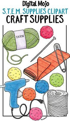 This clip art for teachers contains common household items or supplies found in the craft room, used for various S.T.E.M. challenges or activities.  The set contains a glue gun, pin, yarn, string, safety pin, and pom poms in red, blue, green, orange pink and yellow.