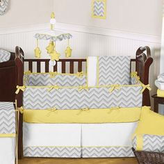 Gray and Yellow Zig Zag Baby Bedding - 9pc Crib Set by JoJO Designs only $189.99