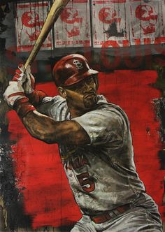 Stephen Holland - Art of the Stars - Sports Art by Stephen Holland and other… St Louis Baseball, St Louis Cardinals Baseball, Stl Cardinals, Angels Baseball, Baseball Art, Baseball Stuff, Baseball Guys, Baseball Posters, Sports Posters