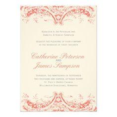Vintage Coral Wedding Invitations