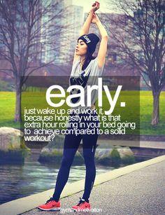 temprano.  Solo levantate y ejercitate, porque honestamente que va te va a dar esa hora extra dando vueltas en la cama comparado con logra...