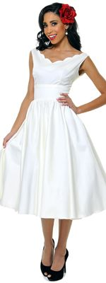 *In Stock & Ready to ShipQUEEN OF HEARTZ 1950's Style Ivory Cotton Sateen Scallop Brenda Swing Dress - XS-3X